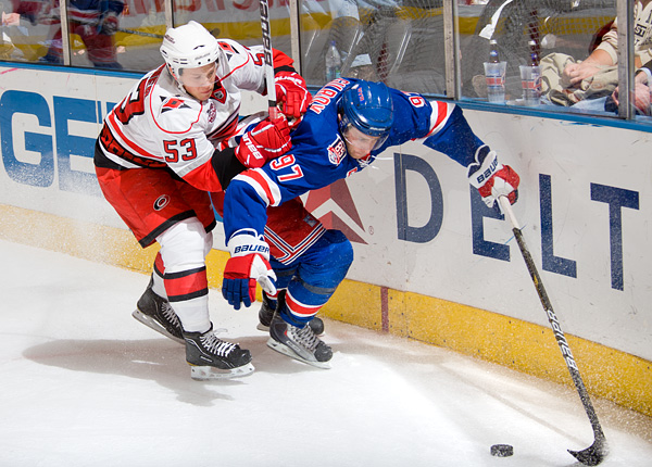 New York's Matt Gilroy, who scored the Rangers third period goal, and Carolina's Jeff Skinner