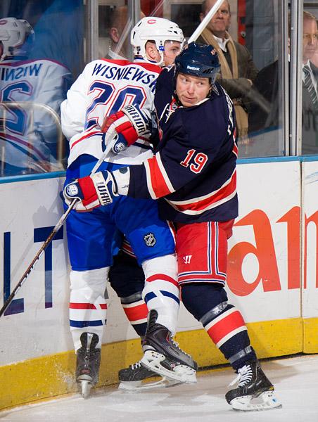 New York's Ruslan Fedotenko and Montreal's James Wisniewski