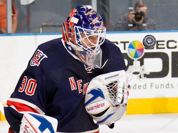 Rangers goalie Henrik Lundqvist makes one of 36 saves
