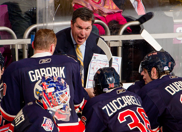 Rangers assistant coach Mike Sullivan draws up a play to try to tie the game late in the third period