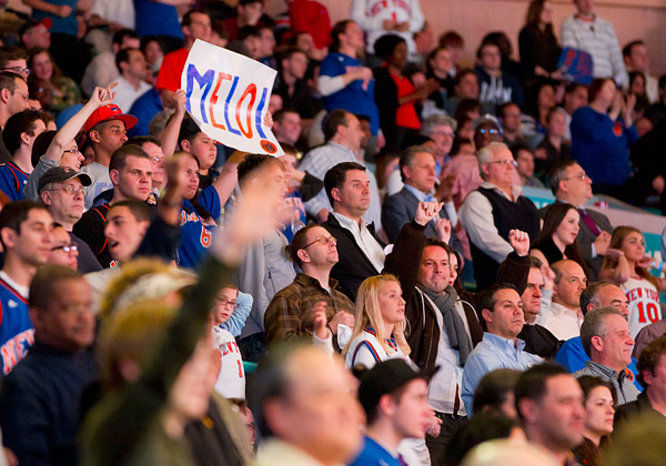 It was a full (and loud!) house, with 20,000+ fans there to see Carmelo Anthony in a Knicks uniform