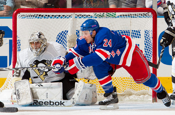 The Rangers' Ryan Callahan and Penguins goalie Marc-Andre Fleury