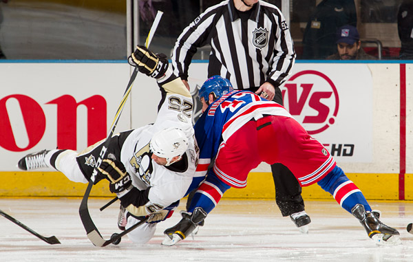 Pittsburgh's Maxime Talbot and Brandon Dubinsky battle for a faceoff