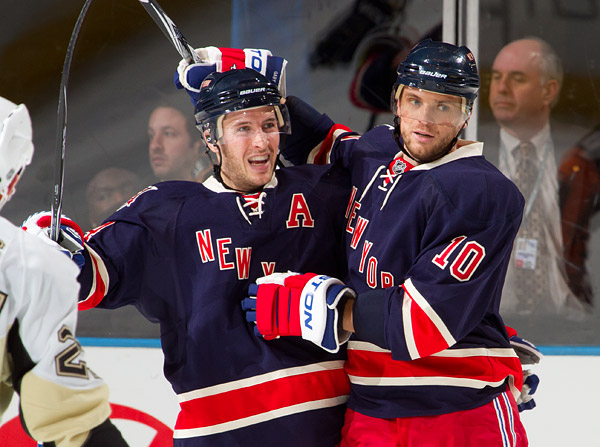 New York's Ryan Callahan and Marian Gaborik celebrate the first of Callahan's two goals