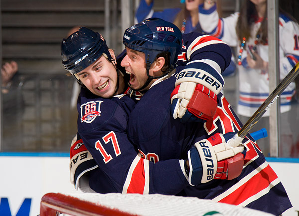 Rangers Brandon Dubinsky and Vinny Prospal celebrate Prospal's second period goal, which put their team up 3-2