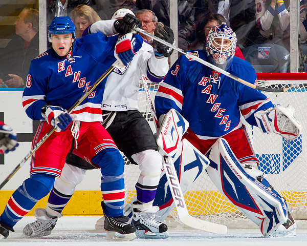 Rangers defenseman Michael Sauer and goalie Henrik Lundqvist