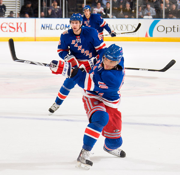 The Rangers' Marian Gaborik shoots