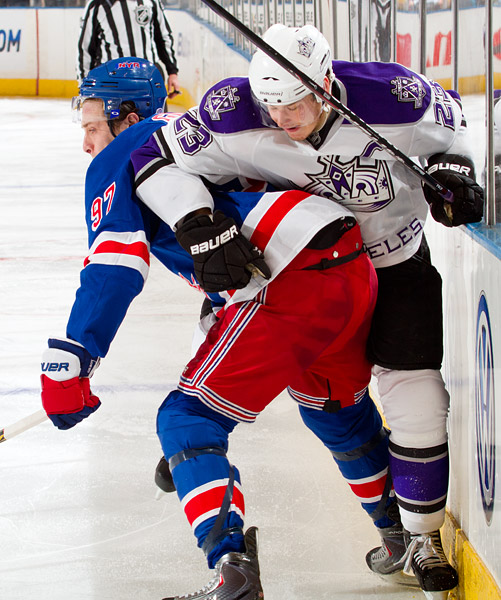 New York's Matt Gilroy and Los Angeles's Dustin Brown