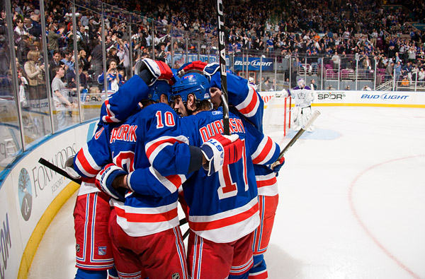 New York's Marian Gaborik (#10) celebrates his third period goal with his teammates