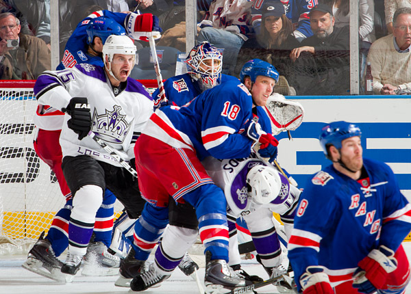 Chaos in front of the Rangers' net late in the third period