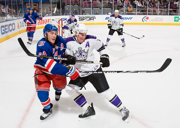 New York's Ryan Callahan and Los Angeles's Matt Greene