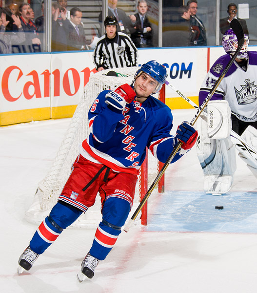 New York's Mats Zuccarello celebrates his shootout goal