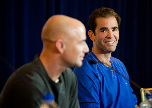 Pete Sampras and Andre Agassi at the morning press conference