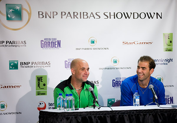 Agassi and Sampras at the post-match press conference