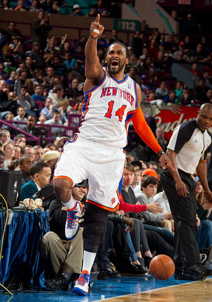 The Knicks' Ronny Turiaf celebrates a forced turnover