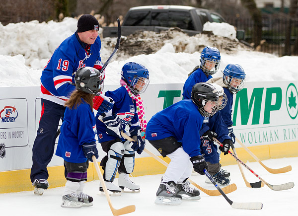 Retired Rangers player Brian Mullen (1987-1991) was on hand for a clinic, demonstrating proper hockey stance