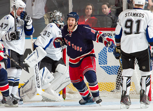 New York's Brandon Prust celebrates his game-tying goal in the second period