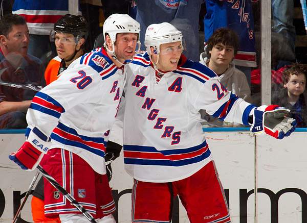 New York's Ryan Callahan (right) celebrates his second goal with teammate Vinny Prospal, who earned an assist on the goal