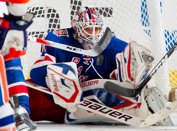 Henrik Lundqvist made a number of memorable saves in the game, including this one in the third period