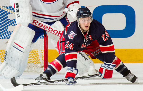 New York's Ryan Callahan sets up for a play in front of Montreal's goal