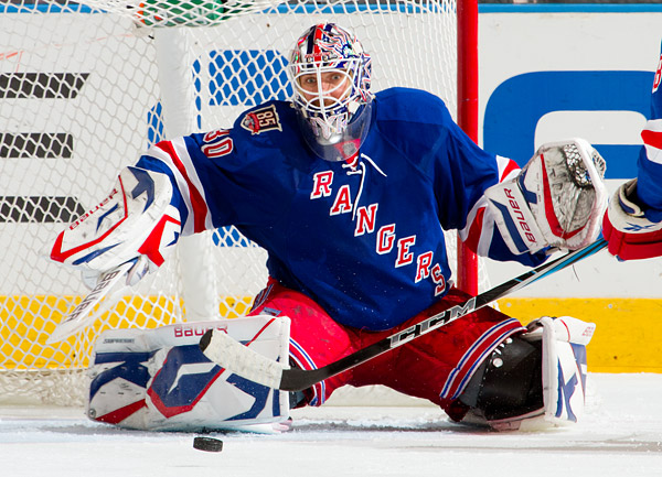 Rangers goalie Henrik Lundqvist keeps his eye on the puck late in the game, determined to earn his 10th shutout of the season