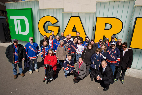 The group outside TD Garden before the game
