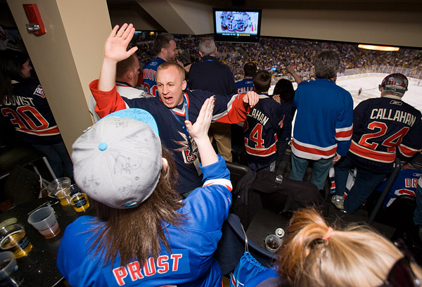 The suite erupts when Derek Stepan scores his goal
