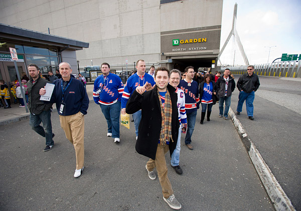 Rangers fans are all smiles as they leave TD Garden