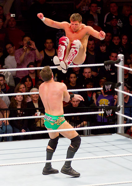 Daniel Bryan kicks Ted DiBiase in the face