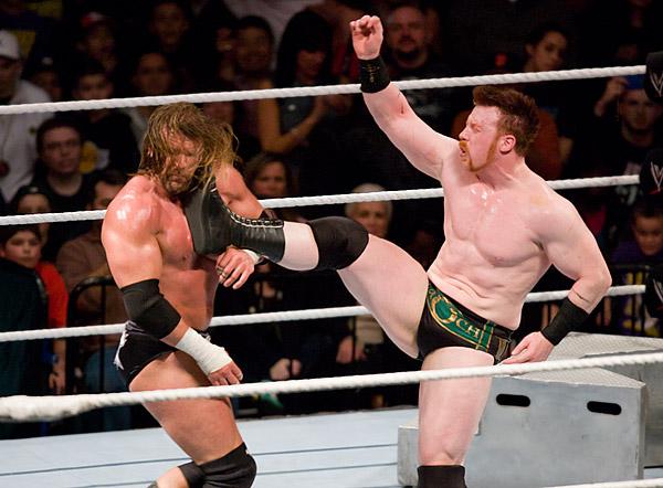 Triple H tastes the boot of Sheamus