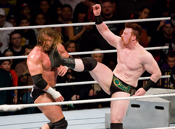 Triple H tastes the boot of Sheamus