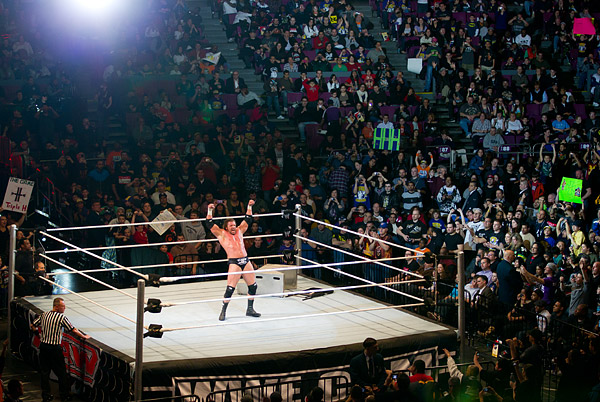 but Triple H ultimately prevails, much to the excitement of the crowd