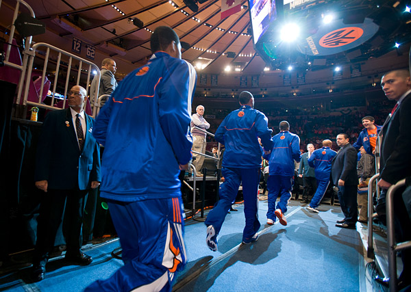 The Knicks enter the arena for warmups