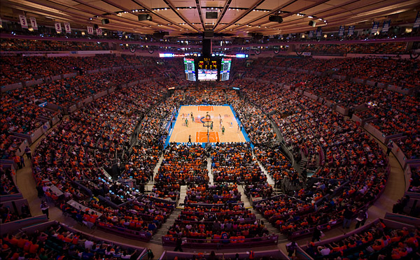 The Madison Square Garden arena packed with fans in Knicks orange