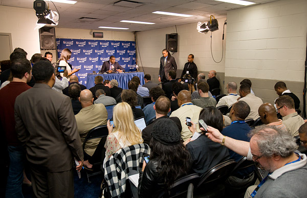 Amar'e Stoudemire fields questions from the media after his team is eliminated