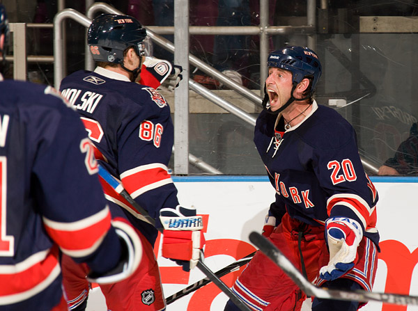 Prospal once again celebrates with teammate Wojtek Wolski, who earned assists on both of his goals, after sending the Rangers into the second intermission down only 3-2