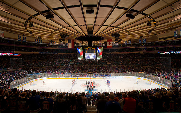The national anthem at Madison Square Garden