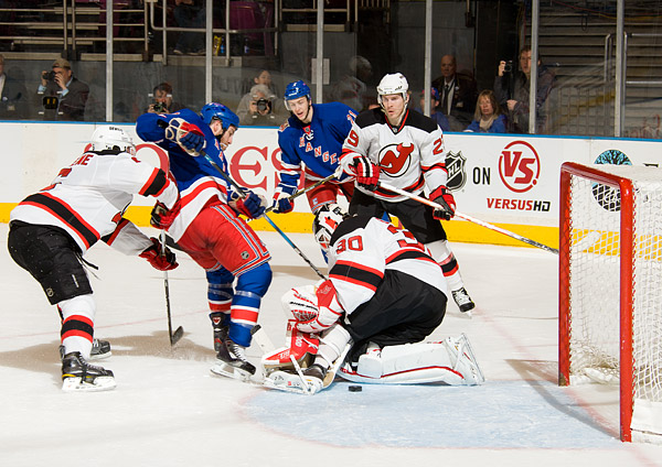 Later in the second period, Brandon Prust slips one past Devils goalie Martin Brodeur to put the Rangers up 4-2