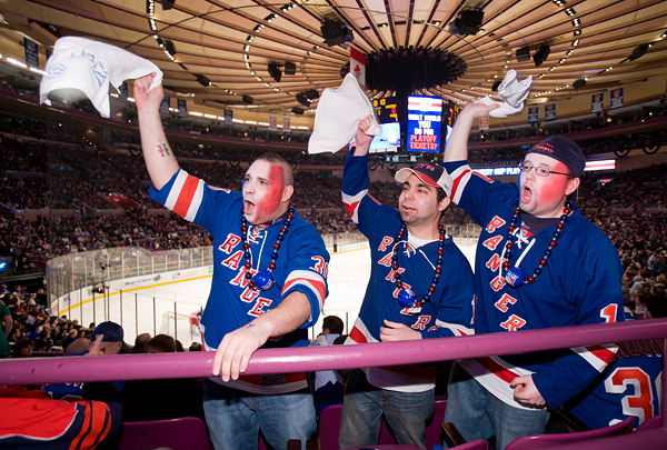 I had to put myself on the injured list for Game 3 due to illness, but was back at Madison Square Garden to shoot Game 4, much to the excitement of these fans
