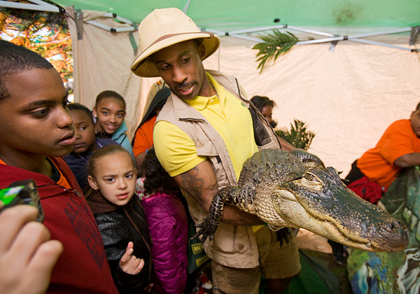 Erik teaches the kids about reptiles, including Wally the Alligator