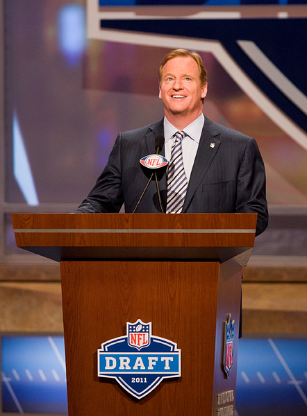 NFL Commissioner Roger Goodell announces that the Carolina Panthers have chosen Cam Newton as the #1 pick
