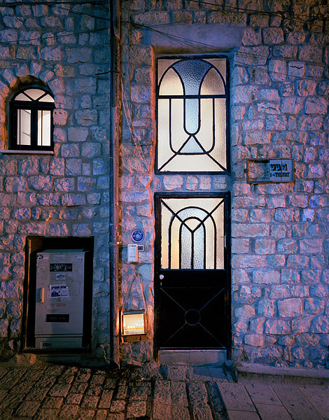 A Chanukah menorah sits outside a home in Tzfat, Israel