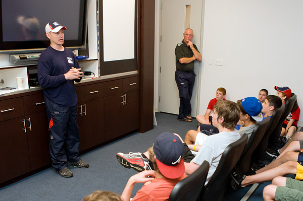 A classroom session with retired Rangers Adam Graves and Jay Wells, who played together on the 1994 Rangers Stanley Cup Championship team