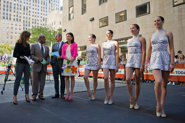 Rockettes with the Today Show's Natalie Morales, Al Roker, Matt Lauer and Ann Curry