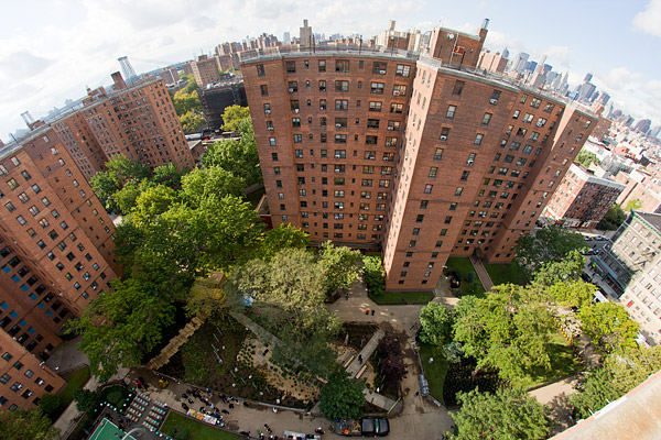 Aerial fisheye of New York City with Planters Grove