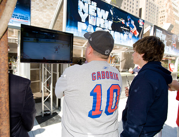 Rangers fans watch the game