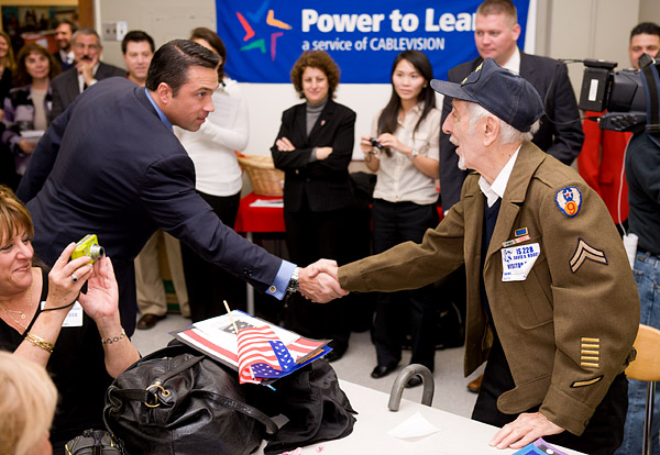 Congressman Grimm, a former marine, shakes hands with a veteran of three wars