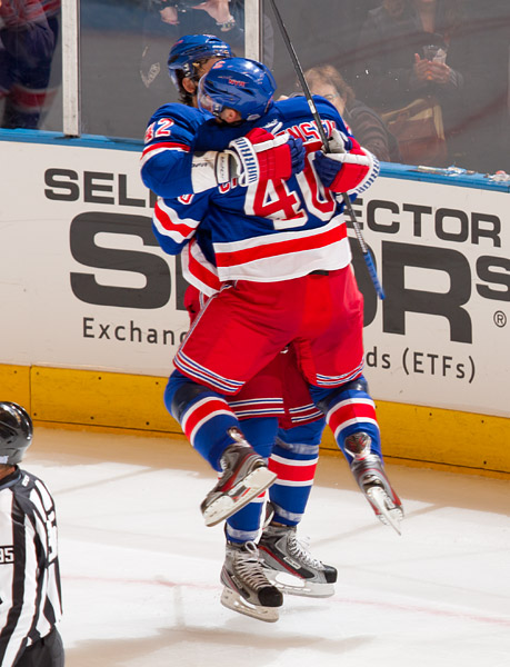 Rangers Artem Anisimov (#42) and Erik Christensen (#40) celebrate Anisimov's goal in the second period