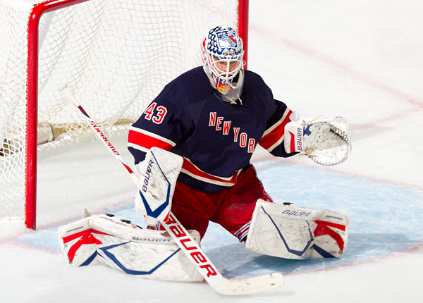 Martin Biron, giving regular goalie Henrik Lundqvist a rest, notched his first shutout in two years and improved to 3-0 on the season