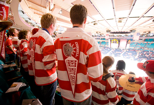 The Cornell Big Red marching band members in their matching Where's Waldo? shirts
